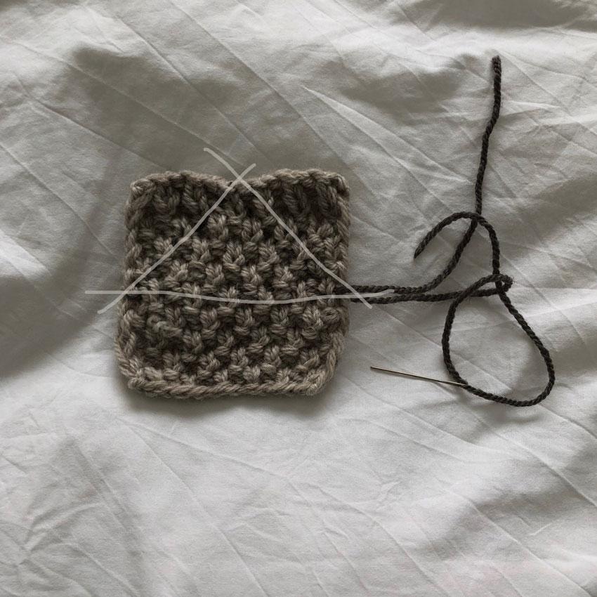 2Quadrat gestrickt Muster Wollnadel Strickhase - DIY | gestrickter Osterhase | simpel einfach schön