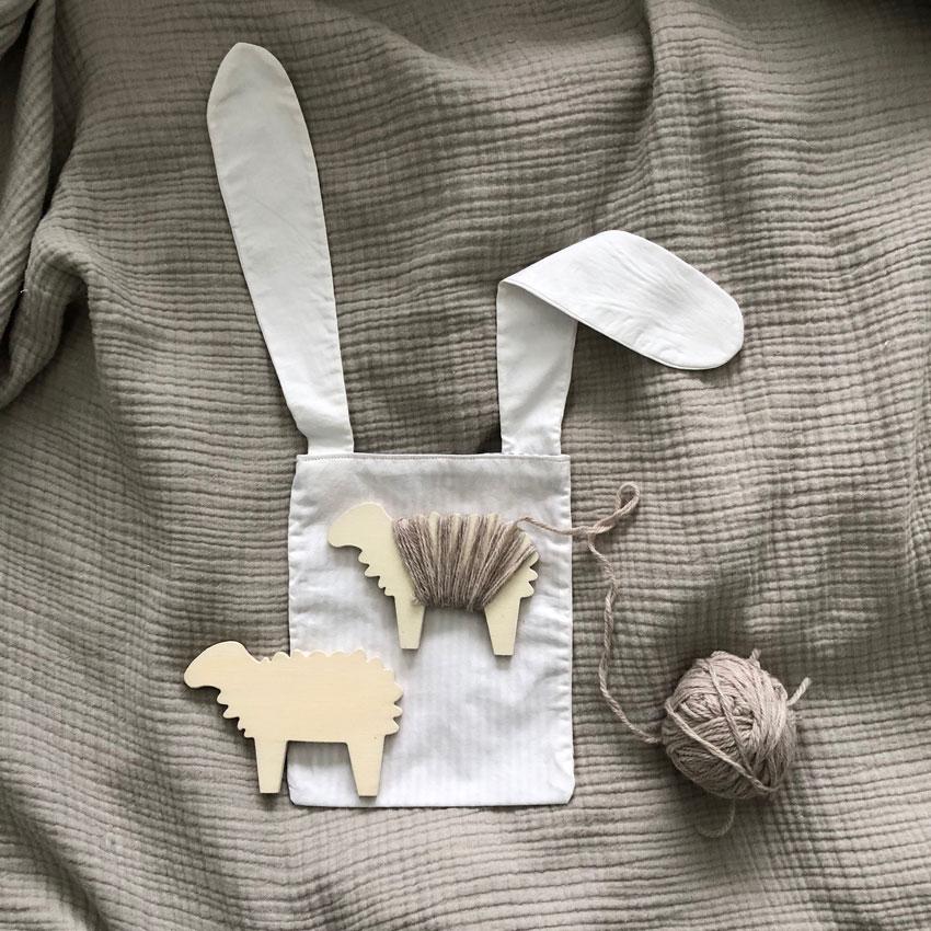 Osterhase Tasche Osternest Hasentasche Hasenbeutel Brotzeitsack Wickelschaf Holzschaf - DIY | nachhaltige Hasentäschchen für das Osternest