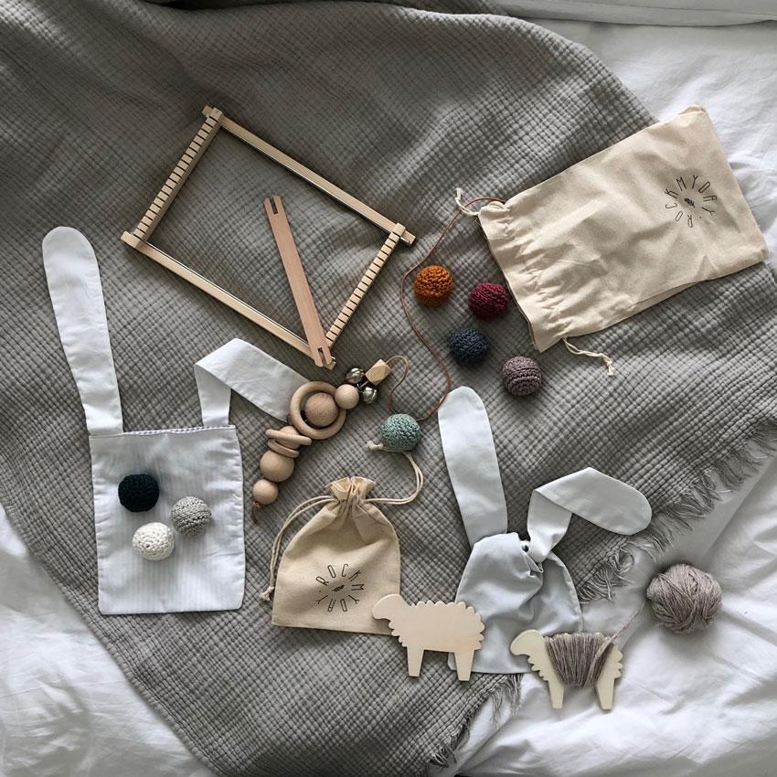 Spielsachen Ostern nachhaltig Webrahmen Greifling Tasche Hasenbeutel - DIY | nachhaltige Hasentäschchen für das Osternest