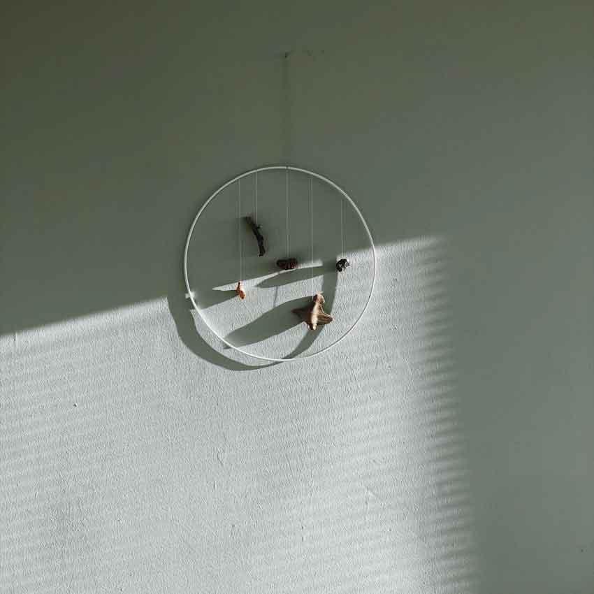 Wanddeko Natur Ring Drahtring Design Schwemmholz Wand Schatten - Wanddekoration aus Natur