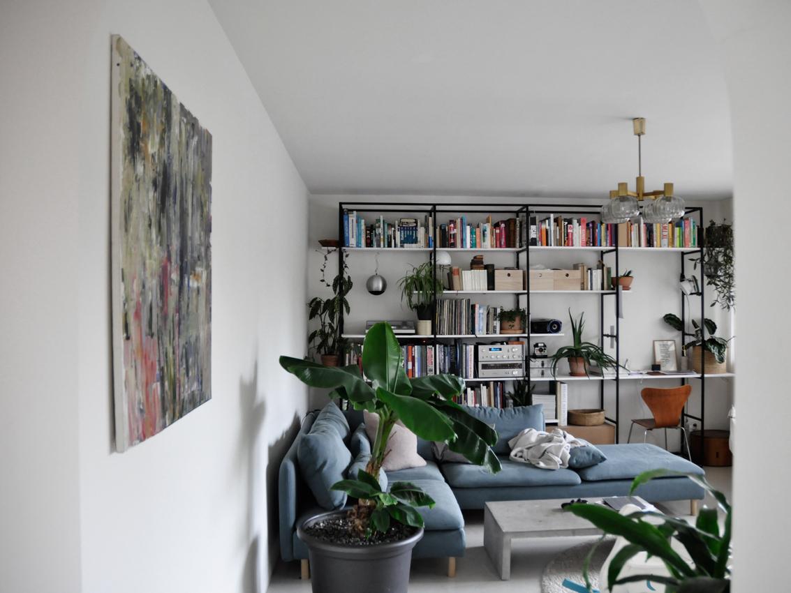 Wohnzimmer Buecherregal Regalwand livingroom Kunst Gerhard Richter - Möbel richtig nutzen   unser intelligentes Bücherregal
