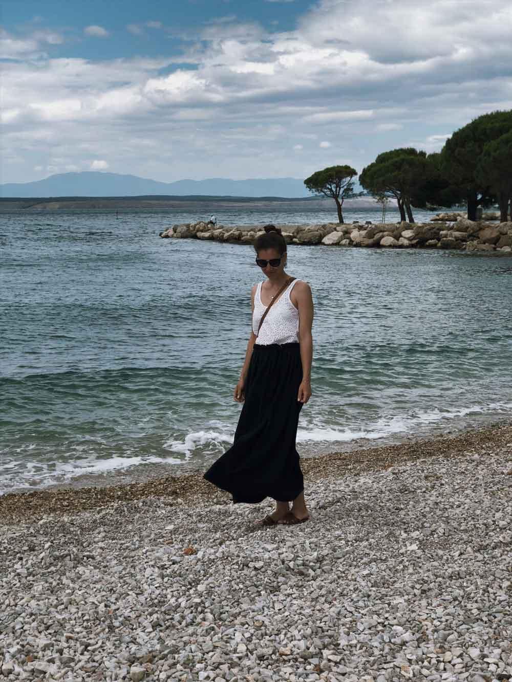 Rock naehen Anleitung diy maxi Outfit musselin Sommer Meer Strand - Ein Sommerrock   einfach und schnell genäht in unter 30 Minuten