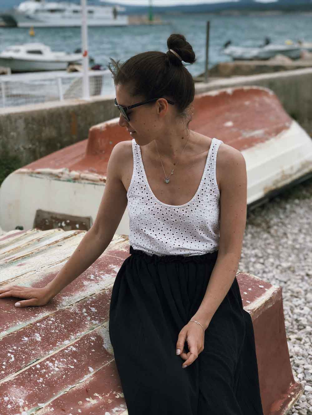 Rock naehen Anleitung maxi Outfit musselin Sommer Meer Strand - Ein Sommerrock   einfach und schnell genäht in unter 30 Minuten