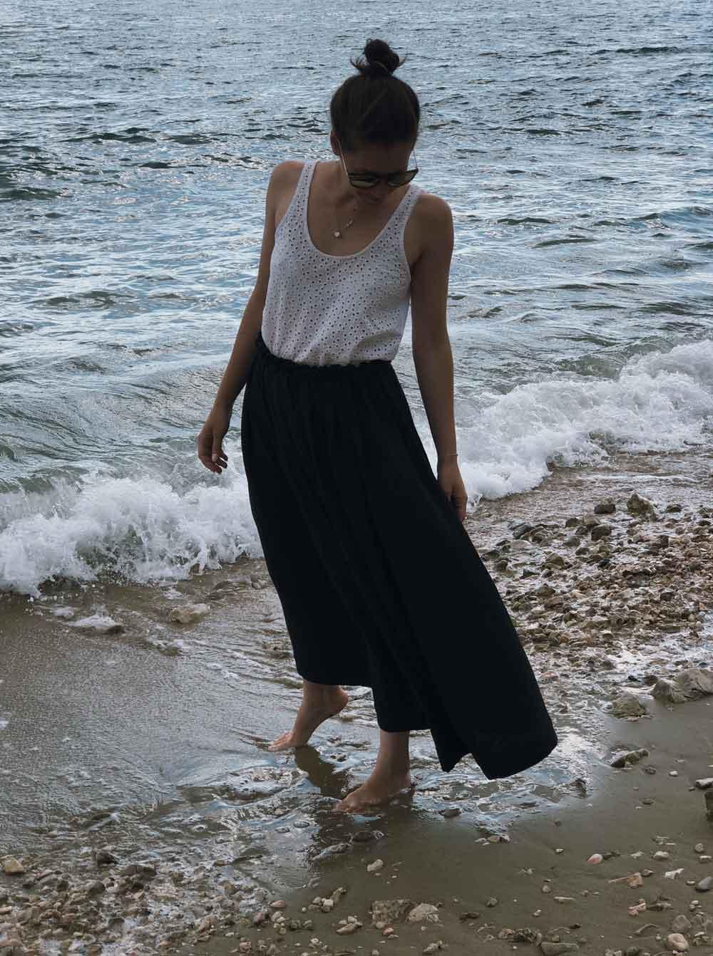 Rock naehen Anleitung maxi midi mini musselin Sommer Meer Strand - Ein Sommerrock   einfach und schnell genäht in unter 30 Minuten