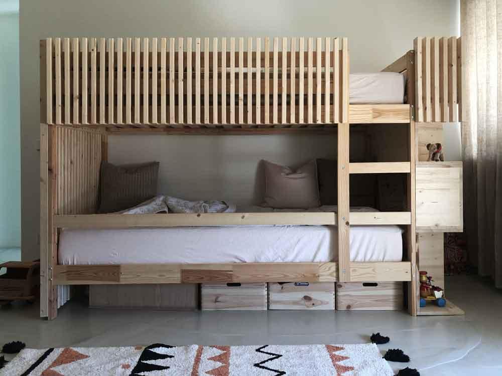 Stockbett Holz Holzbett Kinderbett Geschwisterbett Kinderzimmer Anleitung Bauplan - DIY | ein Stockbett aus Holz einfach selber machen