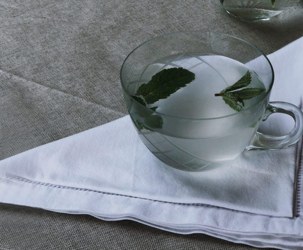 Sommertisch Serviette Stoff weiß Limonade homemade lemonade Minze 1024x847 - erfrischende Zitronenlimonade in unter 10 Minuten