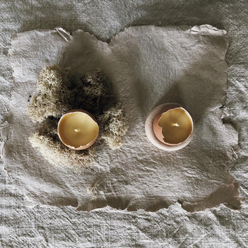 coffee DIY Eierschalen Kerzen Bienenwachs Kerzen gießen upcycling Eierbecher Holz 08 - DIY | Kerzen aus Eierschalen für einen wundervollen Start in den Frühling