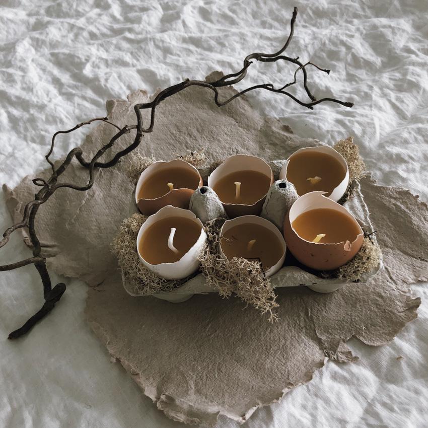 coffee DIY Eierschalen Kerzen Bienenwachs Kerzen gießen upcycling Eierbecher Holz 09 - DIY | Kerzen aus Eierschalen für einen wundervollen Start in den Frühling
