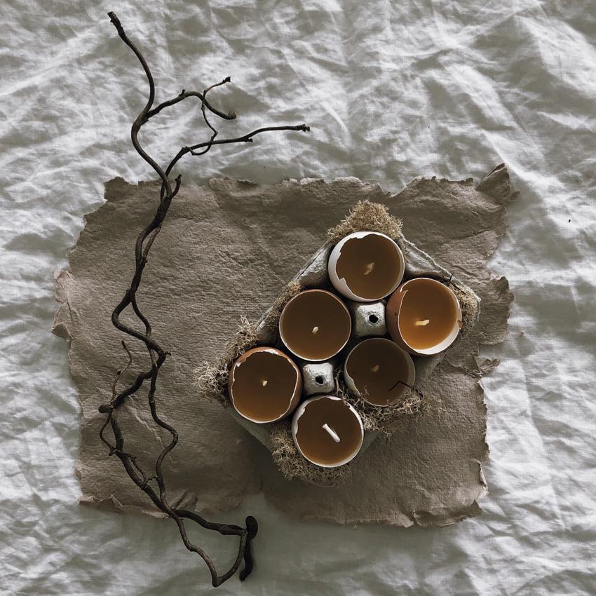 coffee DIY Eierschalen Kerzen Bienenwachs Kerzen gießen upcycling Eierbecher Holz 10 - DIY | Kerzen aus Eierschalen für einen wundervollen Start in den Frühling