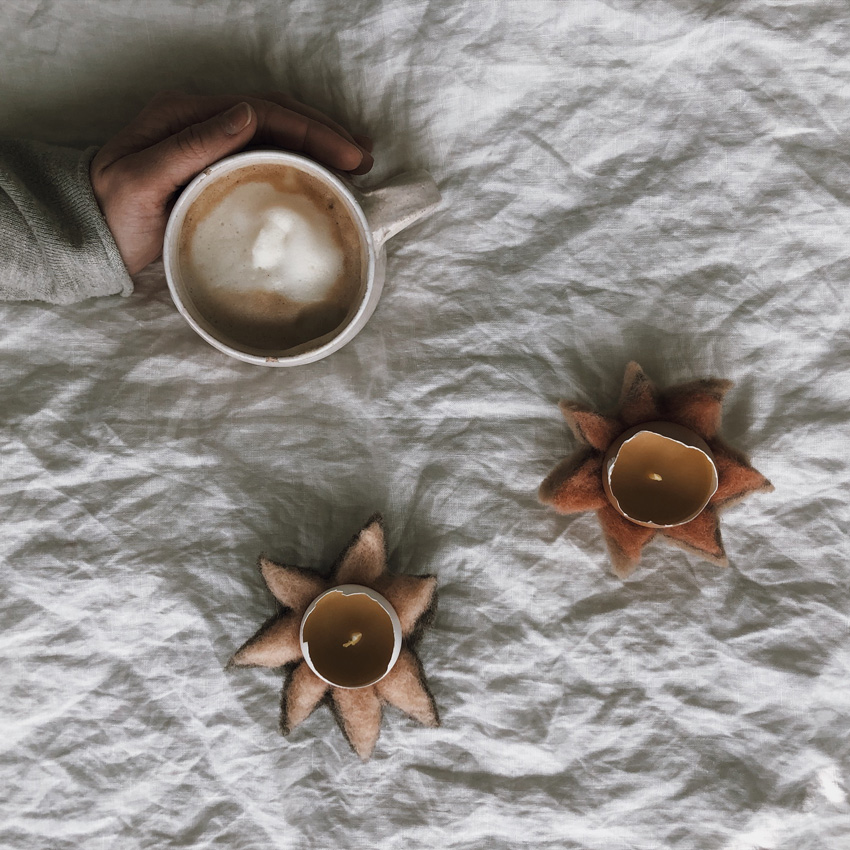 coffee DIY Blumen gefilzt Schneegloeckchen filzen 01 - OSTERN | all meine Beiträge rund um Strauß - Tisch - Osternest