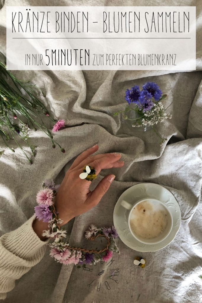 Pinterest cover Blumen sammelkette Lederband Kranz Blumenkranz binden 683x1024 - DIY | Vom Blumen sammeln und Kränze binden - In nur 5 Minuten zum perfekten Blumenkranz