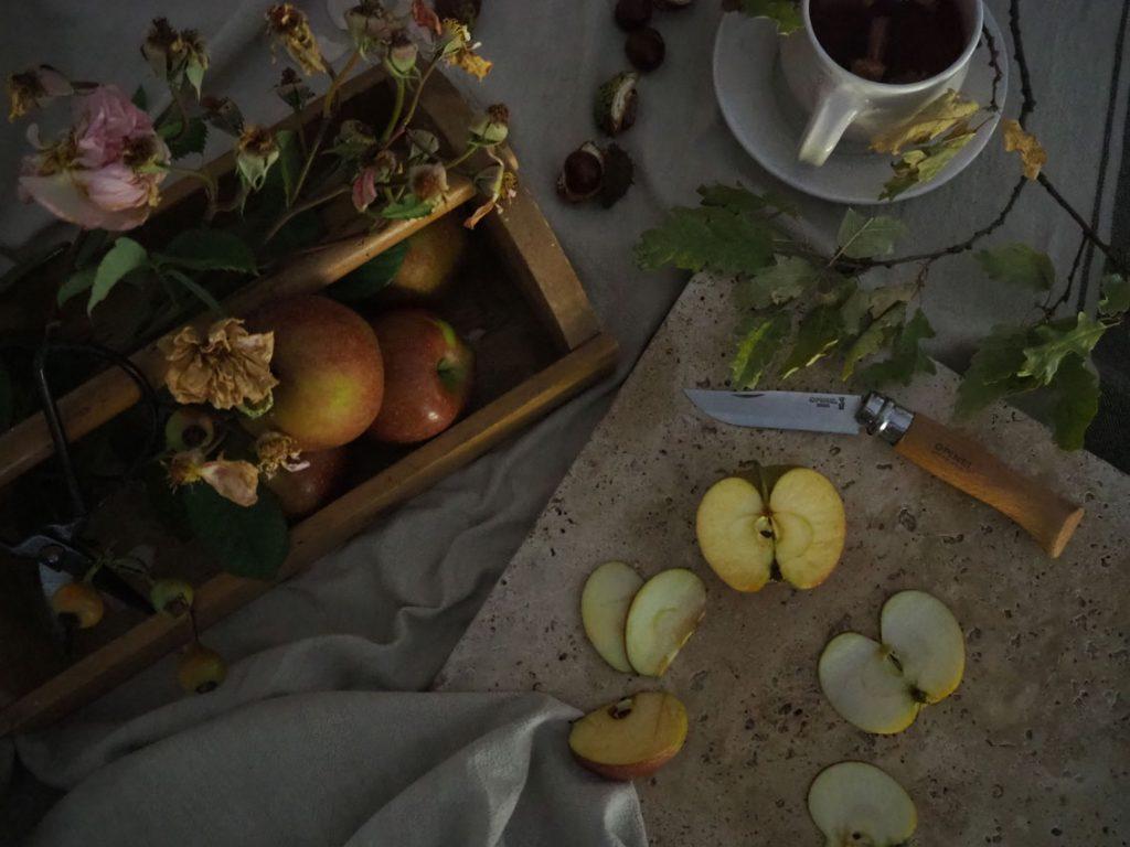 191022 Apfel Hagebutten Rosen Herbst Scheiben Schnitz Messer 1024x768 - rund um den Apfel | von Apfeltee, Apfelchips und magischen Momenten