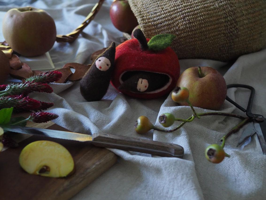 191022 Apfel Hagebutten Rosen Herbst gefilzt - rund um den Apfel | von Apfeltee, Apfelchips und magischen Momenten