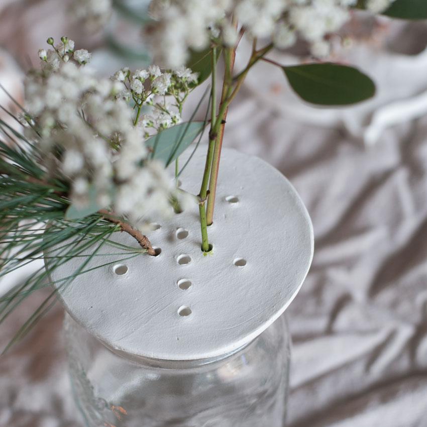 DIY Modelliermasse Blumen Stecker Arrangement 01 - achtsam im Advent | Die schönsten Geschenke aus Modelliermasse