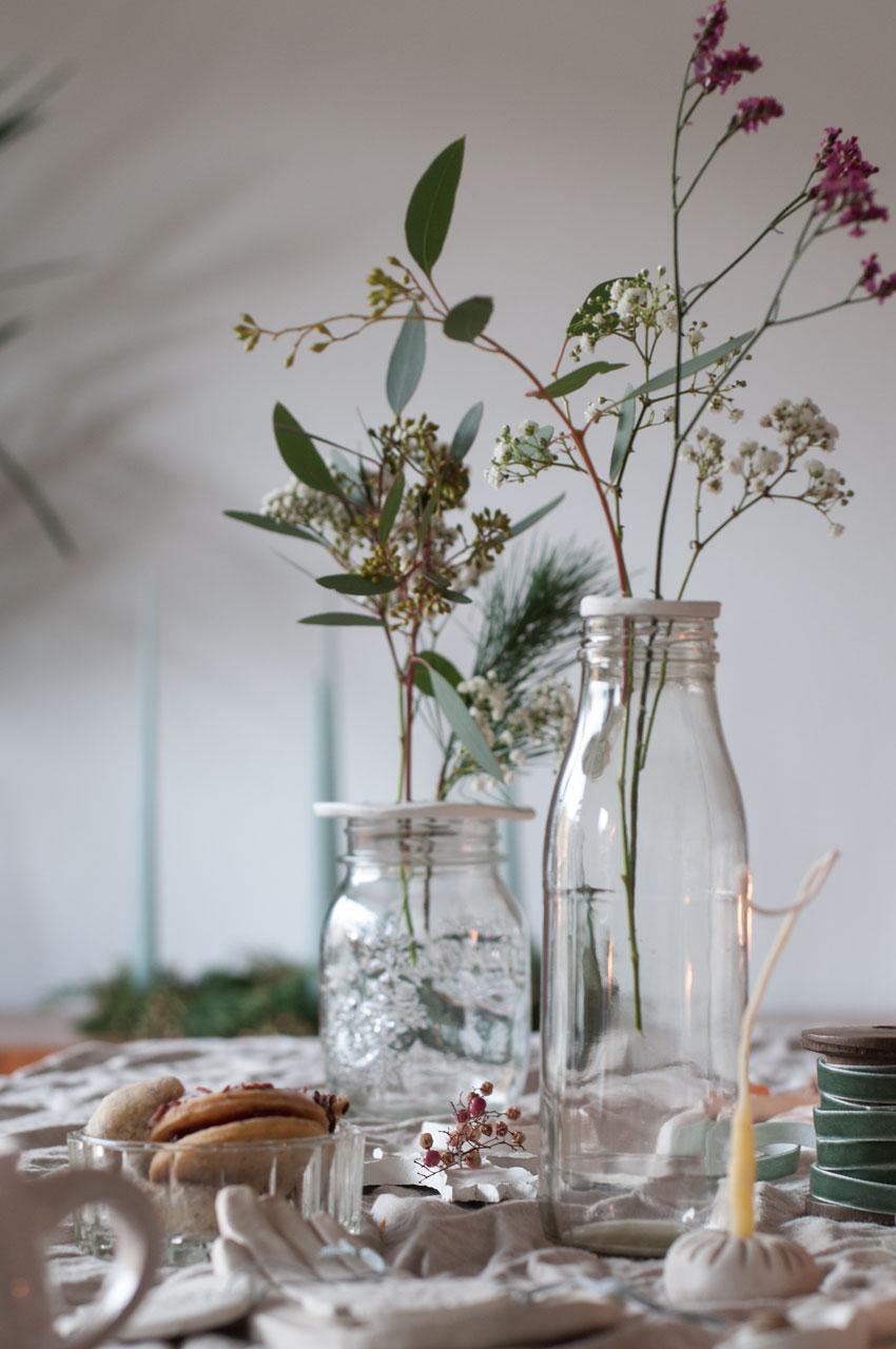 DIY Modelliermasse Blumen Stecker Arrangement 03 - achtsam im Advent | Die schönsten Geschenke aus Modelliermasse